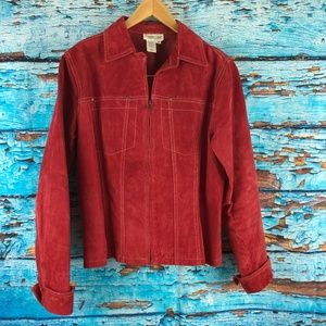 Coldwater Creek Leather Small Red Jacket